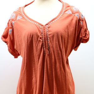 Ruff Hewn Short Sleeve XL Orange Casual Shirt